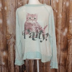 M, Vintage, Party Cat Distressed Wildfox Sweater
